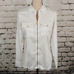 Michael Kors Zip Front Women's White Shirt S
